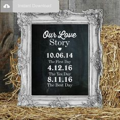 Personalized Our Love Story Wedding Sign by CharlieChalkDesigns Love Story Wedding, The Wedding Date, Free Wedding, Wedding Signs, Rustic Wedding, Wedding Decor, Wedding Reception, Wedding Stuff, Wedding Ideas