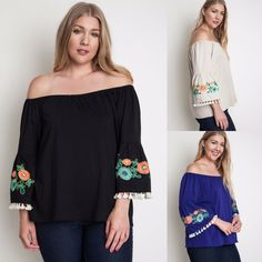 Umgee USA BELIZE Bell Sleeve Embroidered Boho Fringe Off Shoulder Knit Top XL-3X #UmgeeUSA #Tunic #Casual