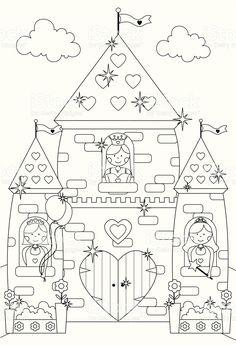 Castello di fiaba scintillante e Principessa caratteri di colore. illustrazione royalty-free