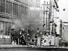 A bomb explodes at the Belfast Telegraph offices  in Royal Avenue, Belfast Picture by Fred Hoare