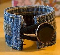 DIY: Trashion Denim Wrist Cuff Bracelet