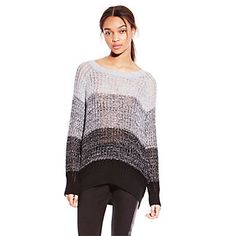 TWO BY VINCE CAMUTO GREY OMBRE SHAKER STITCH SWEATER-A thickly striped grayscale sweater feels so soft against your skin. Ribbed trim completes the cozy Ombre Shaker Stitch Sweater.  <li> 70% Cotton, 30% Acrylic