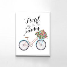Find Joy In The Journey Typography Poster Floral Art Print Office Quote Print Floral Bike Art Inspirational Quote Living Room Decor