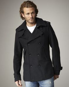 Wittor Wool-Blend Pea Coat by Diesel.