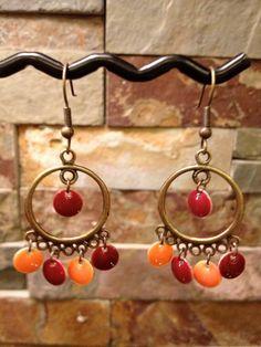 Virginia Tech Hokies Maroon and Orange Chandelier Earrings in Antique Gold
