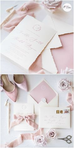 Fall in love with silk ribbons and modern calligraphy <3 Hottest trends for wedding invitations in the upcoming 2018 year.  Our latest invitation is very romantic and delicate in pastel dusty pink color #handmade #calligraphy