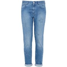 Stella Mccartney Fringed Stars Boyfriend Jeans ($525) ❤ liked on Polyvore featuring jeans, pants, bottoms, джинсы, classic blue, skinny fit jeans, star jeans, super skinny jeans, big-star skinny jeans and skinny leg jeans