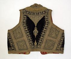 Vest Date: early century Culture: Albanian Medium: wool, silk, metallic thread Dimensions: Length at CB: 13 in. cm) Credit Line: Gift of Julia Acheson Thompson, 1976 Albanian People, Greek Royalty, Gypsy Style, My Style, Costume Collection, Textiles, Embroidery Fashion, Indian Attire, Folk Costume