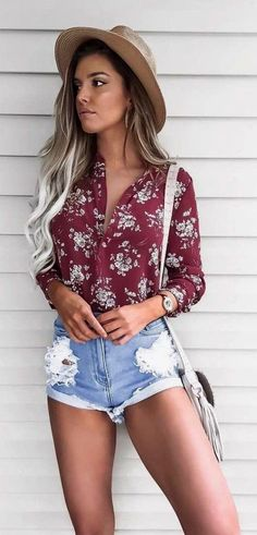 Mocha Hat + Red Printed Shirt + Ripped Denim Short Outfits for Teens Short Outfits, Cute Outfits, Stylish Outfits, Ladies Outfits, Girl Outfits, Shorts Outfits For Teens, Spring Shorts Outfits, Cute Concert Outfits, Concert Outfit Summer