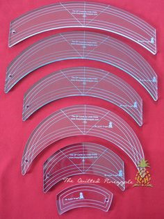 Image of Set special of the Original 6 QP Curve Templates by Linda Hrcka at the Quilted Pineapple Machine Quilting Patterns, Quilting Templates, Quilting Tools, Quilting Rulers, Longarm Quilting, Free Motion Quilting, Quilting Tutorials, Quilt Patterns, Quilting Ideas