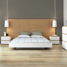 Dusk Bed by TemaHome - a statement headboard with style. Its unique panelled design turns Oak - a typically traditional material into an ultra-modern design feature, with the natural wood grain as the star of the show. http://www.nuastyle.com/beds/769-dusk-bed-by-temahome.html