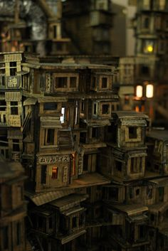 : Hong Kong In Miniature Cardboard City, Cardboard Sculpture, Cardboard Crafts, Stop Motion, Cyberpunk City, Tiny World, Slums, Miniature Houses, Home Art