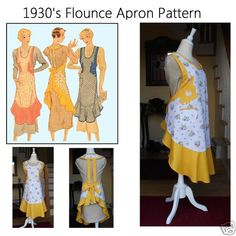 Vintage 1930s Full Size Apron Pattern with Flounce Appliques Size Large | eBay