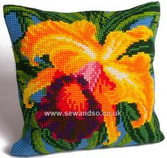 Buy+Orchidée+du+Paradis+Cushion+Front+Chunky+Cross+Stitch+Kit+Online+at+www.sewandso.co.uk