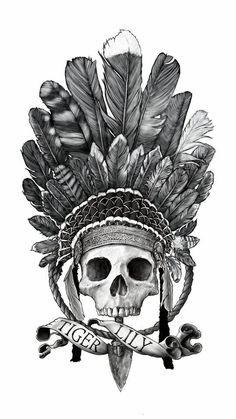 TiGER LILY by Sebastien Yarks, skull tattoo Peter Pan Tiger Lilu art drawing ill. Hand Tattoos, Body Art Tattoos, Sleeve Tattoos, Peter Pan Tattoo, Tattoo Drawings, Art Drawings, Indian Skull Tattoos, Headdress Tattoo, Trendy Tattoos