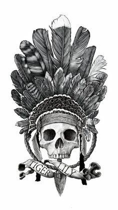 TiGER LILY by Sebastien Yarks, skull tattoo Peter Pan Tiger Lilu art drawing illustration