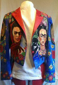 Hand painted 'Frida' vintage tux jacket for American Folk artist, Miz Thang.