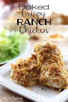 Baked Crispy Ranch Chicken!... only FOUR ingredients! This is perfect for those days you don't want to be in the kitchen forever! Family approved!  Replace bread crumbs w/either parmesan cheese, or ground flax seed  & use gf corn flakes & gf ranch dressing. (yes, a lot of ranch is not gluten free, so be careful!)