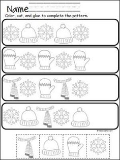 Free winter cut and paste pattern practice. Great for Pre-K and Kindergarten in December, January, and February.