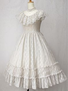 Elegant Lacy Frill Long Dress by Victorian maiden