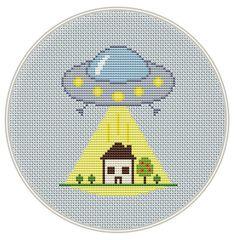 UFO Cross Stitch Pattern, stranger alien space  Cross Stitch Pattern, funny cross stitch, cross stitch PDF, science, Instant download