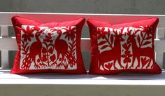 RED RED RED 2 Piece Otomi Shams Ready to ship  Pair. $143.00, via Etsy.