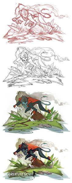 Nice to see his steps. Nightcrawler Process by *CreatureBox on deviantART Character Concept, Character Art, Concept Art, Character Design, Digital Painting Tutorials, Art Tutorials, Creature Box, X Men 1, Comic Books Art