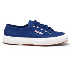 Superga 2750 Cotu Classic Canvas Sneaker ($65) ❤ liked on Polyvore featuring shoes, sneakers, intense blue, superga shoes, plimsoll shoes, superga, plimsoll sneaker and blue canvas sneakers