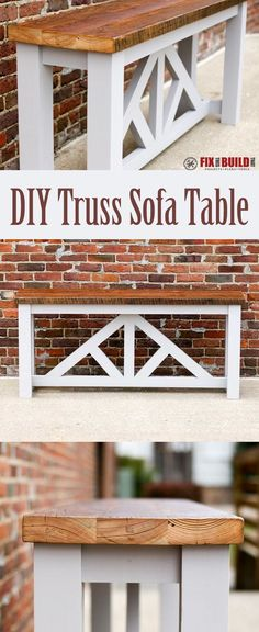 How to make a Truss Console Table with a reclaimed wood top. (How To Mix Wood) Easy Woodworking Diy, Woodworking Joints, Woodworking Projects Plans, Woodworking Basics, Woodworking Bench, Diy Sofa Table, Console Table, Diy Table Top, Sofa Tables