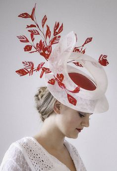 971a04cea03 Stunning White and Red Sinamay Straw Fascinator Hat with Feathers   Ascot  Hat   Designer Hat