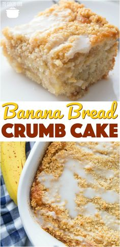Banana Bread Crumb Cake recipe from The Country Cook This Homemade Banana Bread Crumb Cake uses fresh bananas and has a thick and lusciously sweet crumb topping. Perfect for breakfast, dessert or a snack! Banana Dessert Recipes, Banana Bread Recipes, Easy Banana Cake Recipe, Cookie Cake Recipes, Easy Homemade Cake Recipes, Food Cakes, Cupcake Cakes, Rose Cupcake, Cupcakes