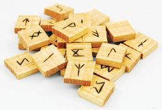 Hewn from the wood of the Ash tree, this rune set offers you the 24 traditional runes of the Elder Futhark along with a blank rune to practice your divination. Futhark Runes, Elder Futhark, Wood Tiles Design, Celtic Runes, Ritual Magic, Pagan Witch, Wicca Witchcraft, Pagan Jewelry, Projects To Try