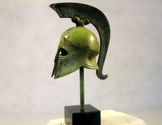 Armour  Weapons :: Small size helmets :: Athenian Helmet - Handmade in Greece of solid bronze, an exact museum reproduction. Helmet includes stand.