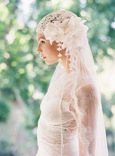 Claire Pettibone 'Mademoiselle' wedding dress & vintage style bridal veil by Erica Elizabeth Designs