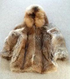 Inuit made coyote parka by Eva Kasudluak