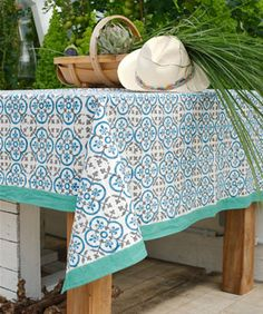 Assiettes en c ramique par 4 sunshine chehoma for table pinterest - Nappe carreaux de ciment ...