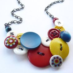 Primary Colors Button Necklace  Red Yellow Blue by buttonsoupjewelry, $30.00
