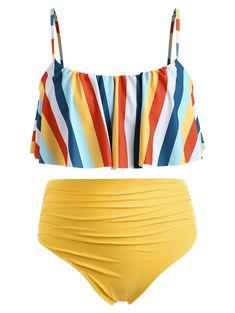 2b662cc9dd7 Büyük Beden Renkli Çizgili Bikini Seti Plus Size Bikini