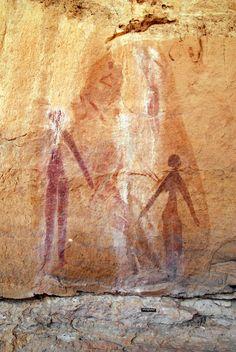 Painted rock art - Wadi Tanshal, Acacus Mountains, Fezzan District, Libya.