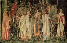 One of the Holy Grail Tapestries ~ designed by Edward Burne-Jones, heraldry by William Morris, and foreground florals and backgrounds by John Henry Dearle. This one is The Arming and Departure of the Knights, now in the Birmingham Museum & Art Gallery. Roi Arthur, King Arthur, La Quete, Birmingham Museum, Pre Raphaelite Brotherhood, Edward Burne Jones, Museum Art Gallery, Medieval Knight, Medieval Art