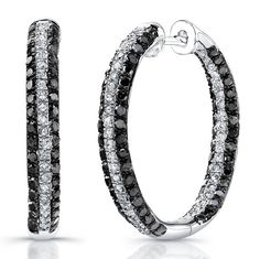 Silver Black And White Diamond Hoop Earrings **-**