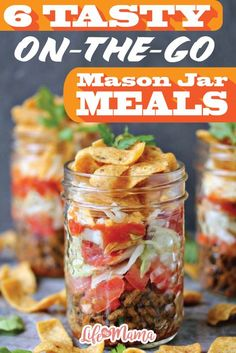 6 Tasty On-The-Go Mason Jar Meals Take your lunch to the office or give your kids a snack that doesn't require a plate. These mason jar meals are easy to put together and fun to eat! Mason Jar Lunch, Mason Jar Meals, Meals In A Jar, Mason Jar Crafts, Mason Jar Diy, Mason Jar Food, Mason Jar Recipes, Salad In A Jar, Mason Jar Lighting