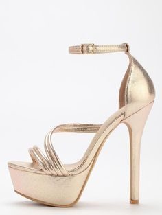 7f361798bb2af Gold Strap Platform High Heel Sandals - Zooomberg Ankle Strap Sandals