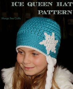 Ice Queen Hat Pattern Since movie Frozen and queen Elsa are very popular in my house, my neighbourhood and my country, here is my version of the Frozen Elsa inspired crochet hat. Frozen Crochet Hat, Crochet Disney, Crochet Baby Hats, Crochet Beanie, Crochet For Kids, Diy Crochet, Crochet Crafts, Crochet Clothes, Knitted Hats