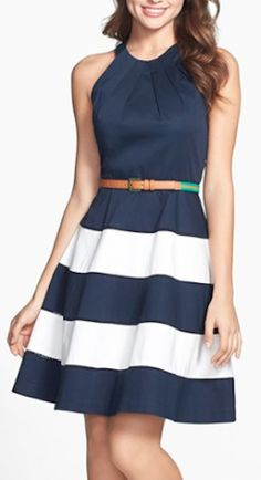 nautical striped fit and flare dress