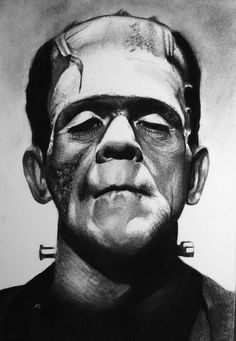 Frankenstein charcoal drawing.