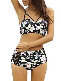 Lalagen Women's Strappy Hollow Out Floral Swimwear High Waist Bikini Sets Black S Summer Bathing Suits, Cute Bathing Suits, Monokini, Sexy Bikini, Bikini Swimsuit, Women Bikini, Bikini Beach, Bandeau Bikini, Bikini Girls