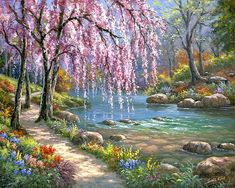Landscape Paint by Number Kit, Spring River DIY Kit painting on canvas wall art, Adult DIY Home Decor Gift, Craft kit River Painting, Acrylic Painting Canvas, Diy Painting, Canvas Art, Painting Flowers, Basic Painting, Spring Painting, Spring Art, Canvas Ideas