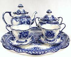 Gzhel Tea Set for 2, Cobalt Blue Hand Painted Russian Porcelain, Two Tea Cups & Saucers, Tea Pot, Sugar Bowl, Creamer, Large Serving Dish