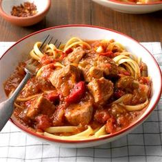 Tuscan Pork Stew Recipe -Tender chunks of pork slowly cook in a nicely seasoned, wine-infused sauce. Add some crushed red pepper flakes for a little added kick.—Penny Hawkins, Mebane, North Carolina Crock Pot Slow Cooker, Slow Cooker Recipes, Crockpot Recipes, Cooking Recipes, Cooking Ham, Crockpot Dishes, Diabetic Recipes, Pork Tenderloin Recipes, Pork Recipes